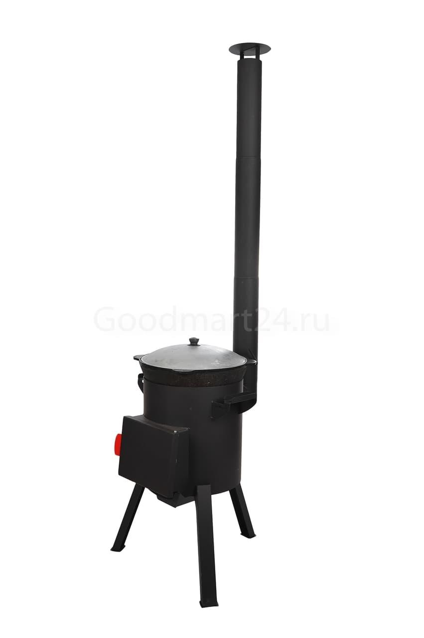 Узбекский чугунный казан 10 литров + печь c трубой, поддувалом Grillver 3 мм. - фото 7164