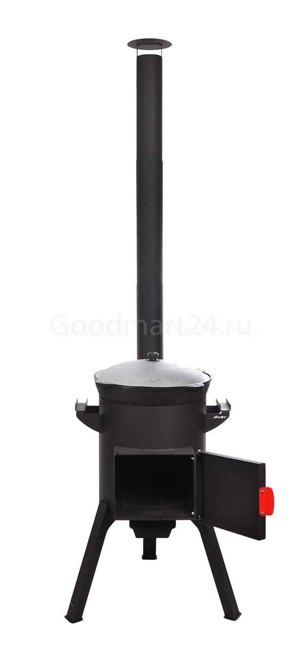 Узбекский чугунный казан 10 литров + печь c трубой, поддувалом Grillver 3 мм. - фото 7166