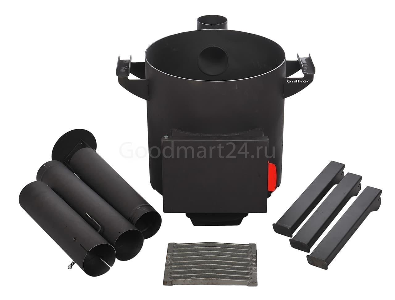 Узбекский чугунный казан 10 литров + печь c трубой, поддувалом Grillver 3 мм. - фото 7167