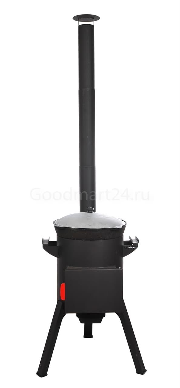 Узбекский чугунный казан 12 литров + печь c трубой, поддувалом Grillver 3 мм. - фото 7175