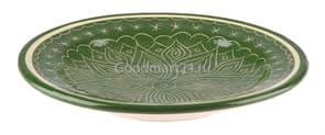 Тарелка плоская Риштанская Керамика 25 см. зеленая