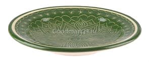 Тарелка плоская Риштанская Керамика 27 см. зеленая